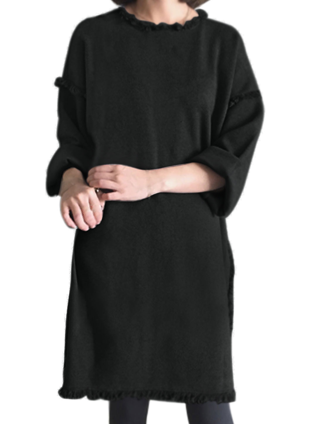 Lady Crew Neck Long Sleeves Fringing Trim Loose Casual Dress Black XS