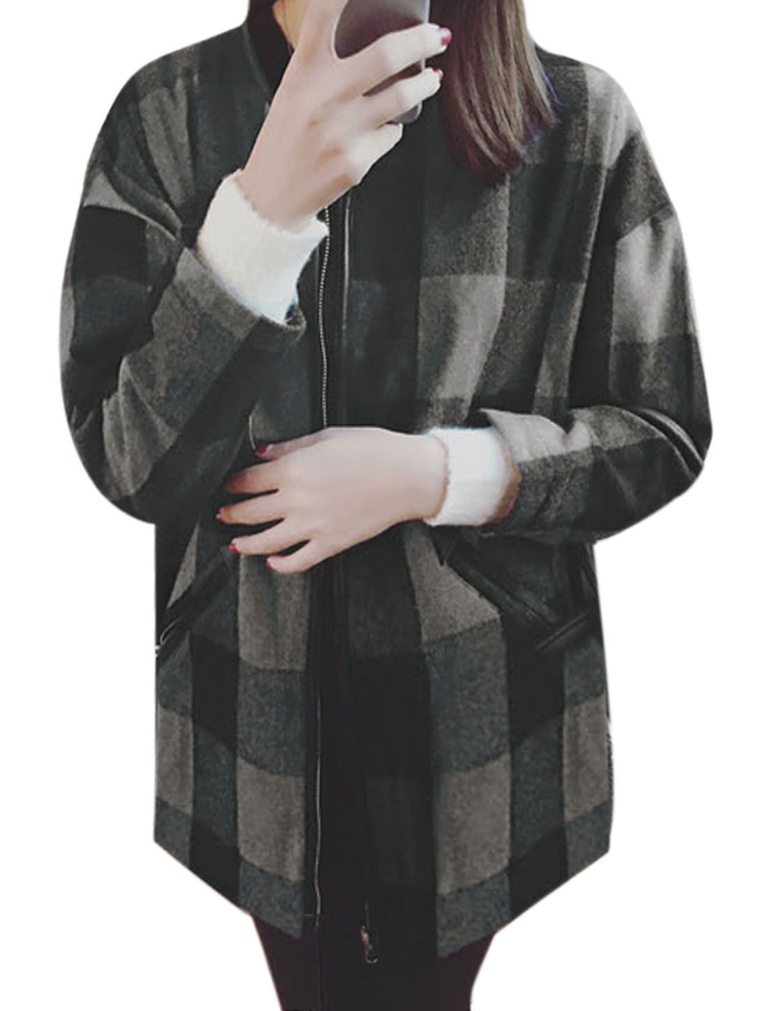 Women Asymmetric Neck Plaids Pattern Zip Up Front Worsted Jacket Gray XS