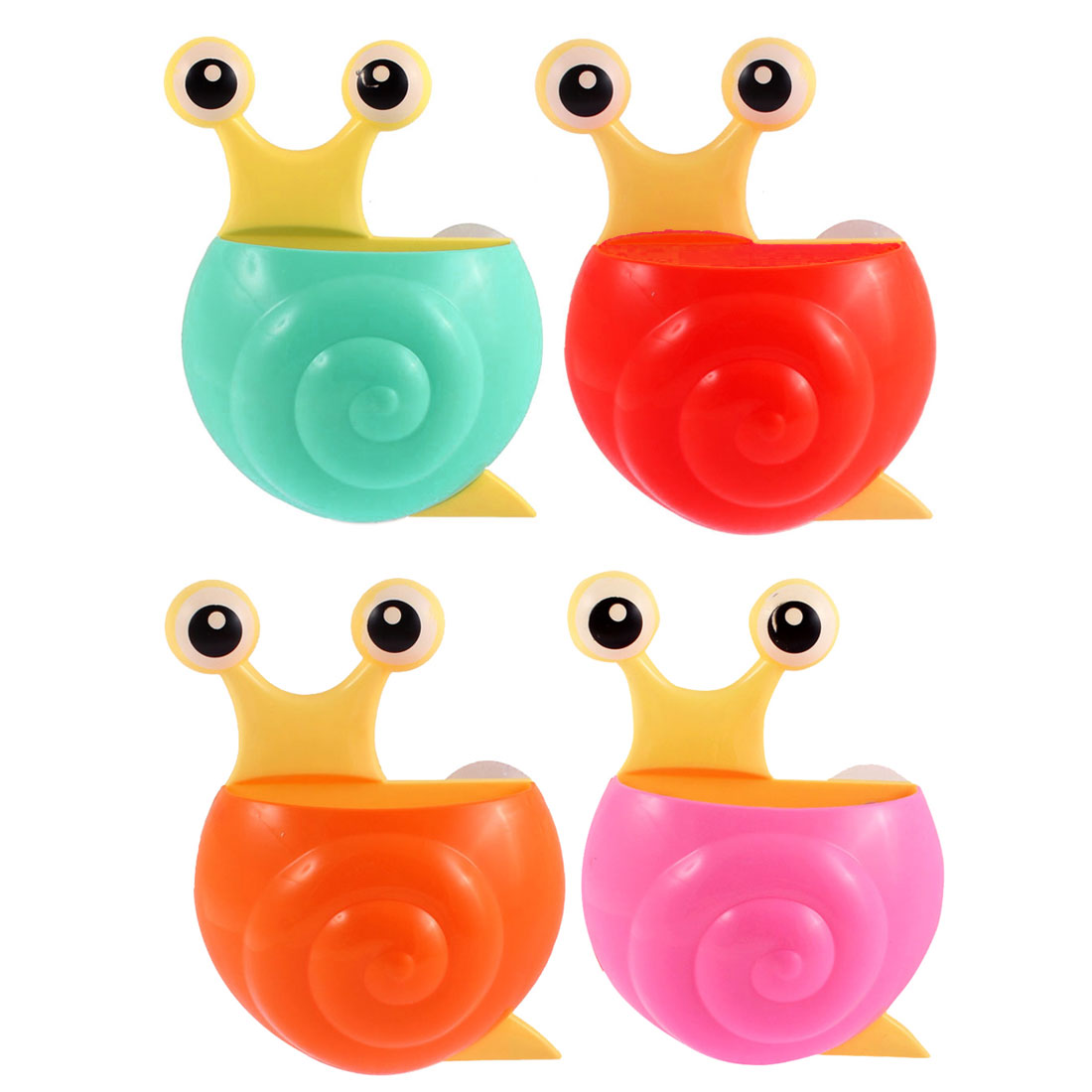 Plastic Snail Shape Suction Cup Toothbrush Toothpaste Holder Assorted Color 4pcs