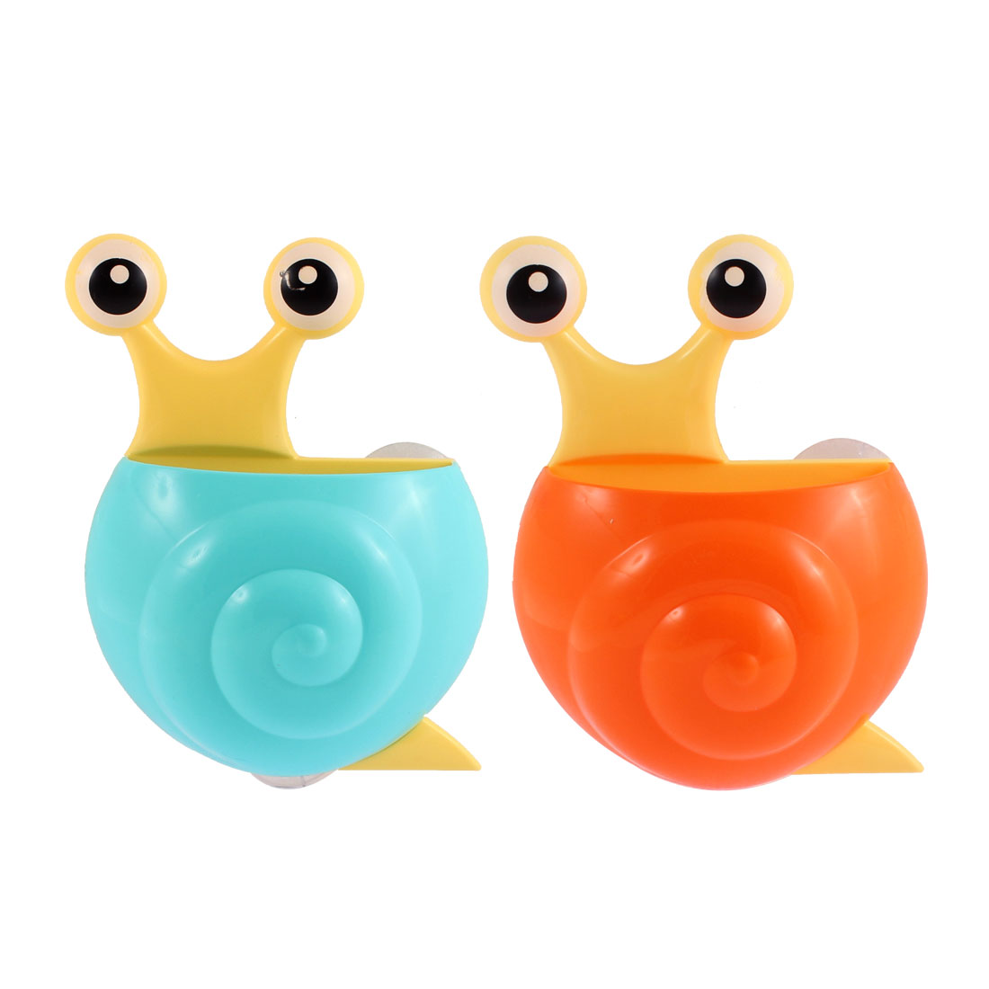Plastic Snail Design Suction Cup Toothbrush Holder Cyan Orange 2pcs