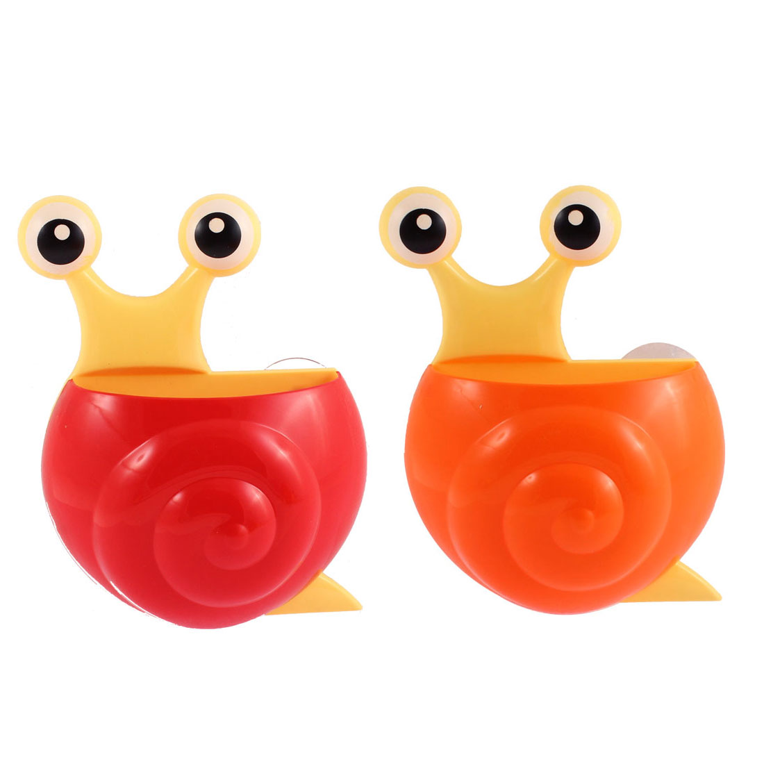 Home Plastic Snail Shape Toothbrush Toothpaste Holder Red Orange 2pcs
