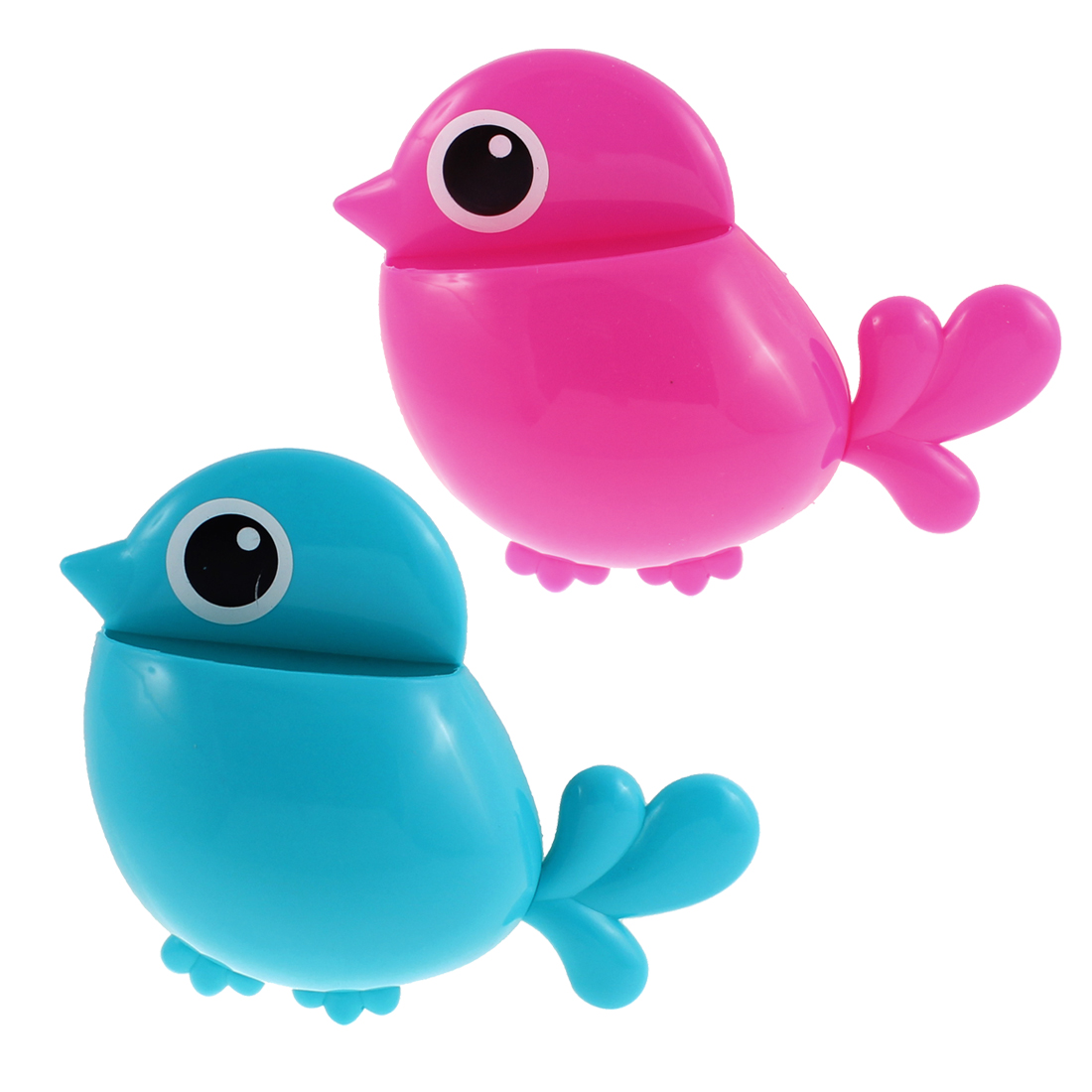 Home Plastic Bird Shape Toothbrush Toothpaste Holder Fuchsia Blue 2pcs
