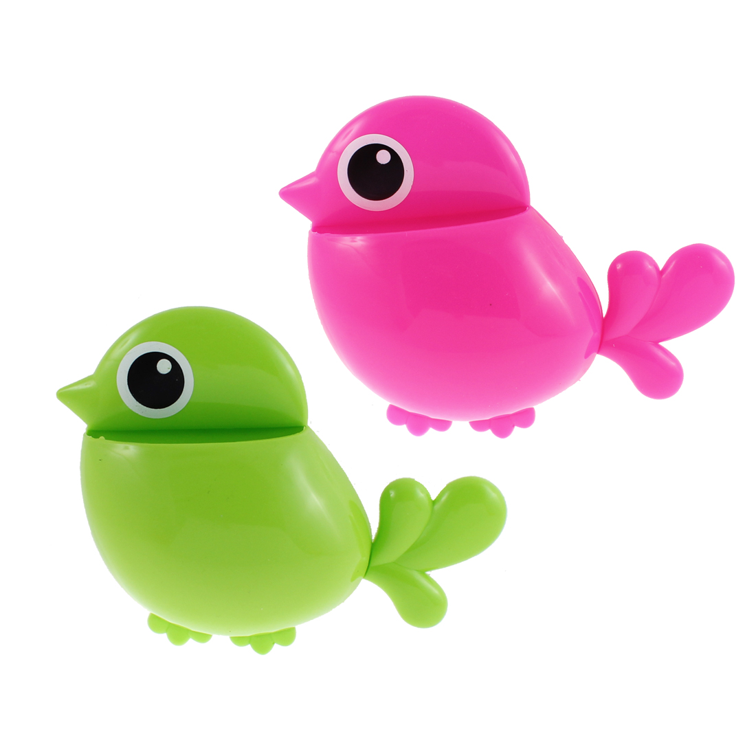 Plastic Bird Shape Suction Cup Toothbrush Toothpaste Holder Fuchsia Green 2 Pcs