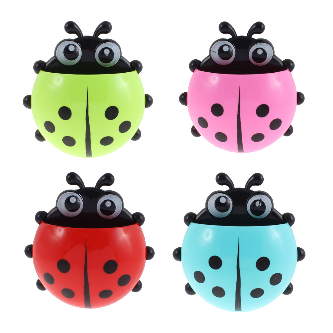 Plastic Ladybird Design Suction Cup Toothbrush Holder Assorted Color 4 Pcs