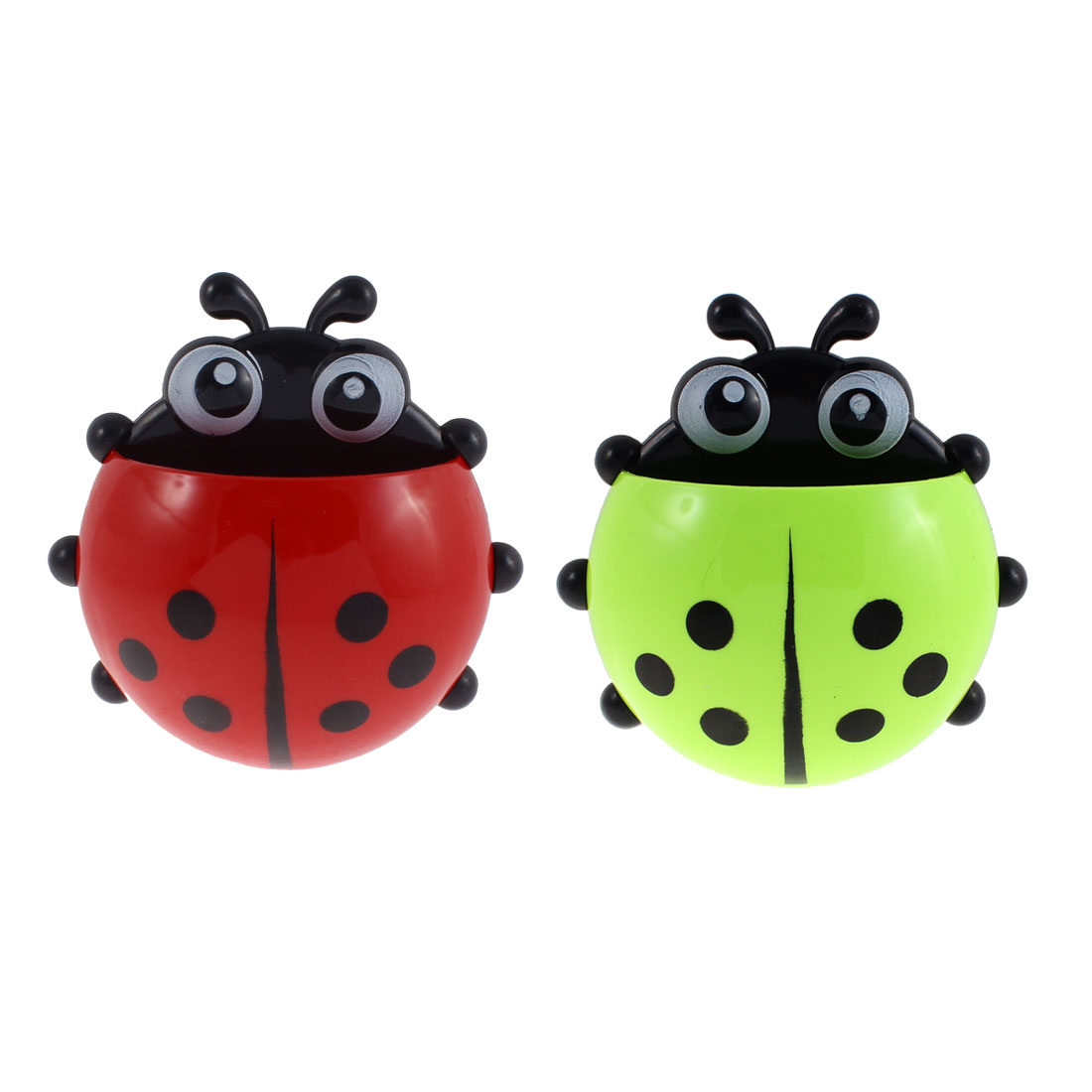 Plastic Ladybird Design Suction Cup Toothbrush Holder Green Red 2 Pcs