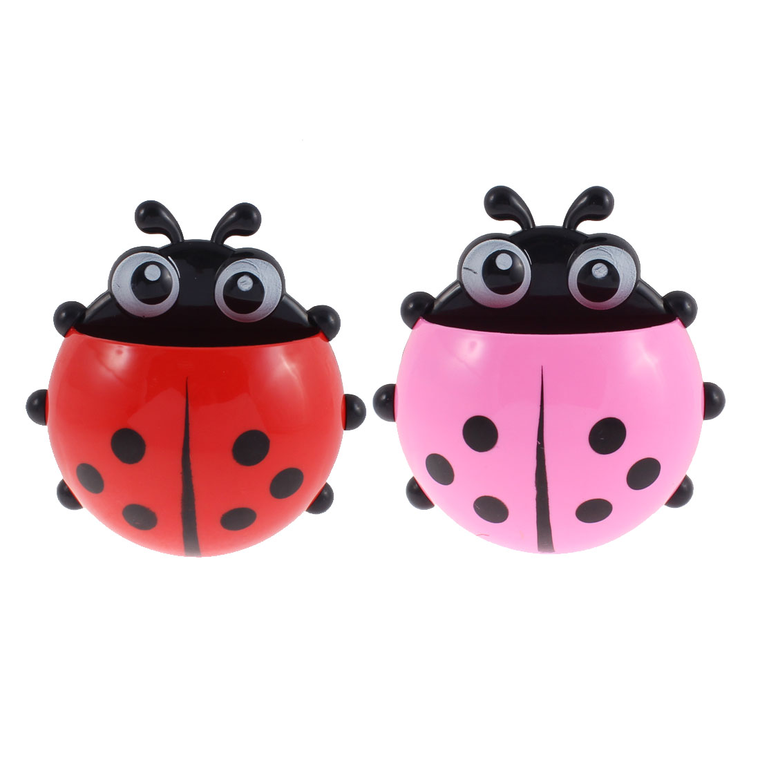 Plastic Ladybird Design Toothbrush Toothpaste Holder Pink Red 2 Pcs