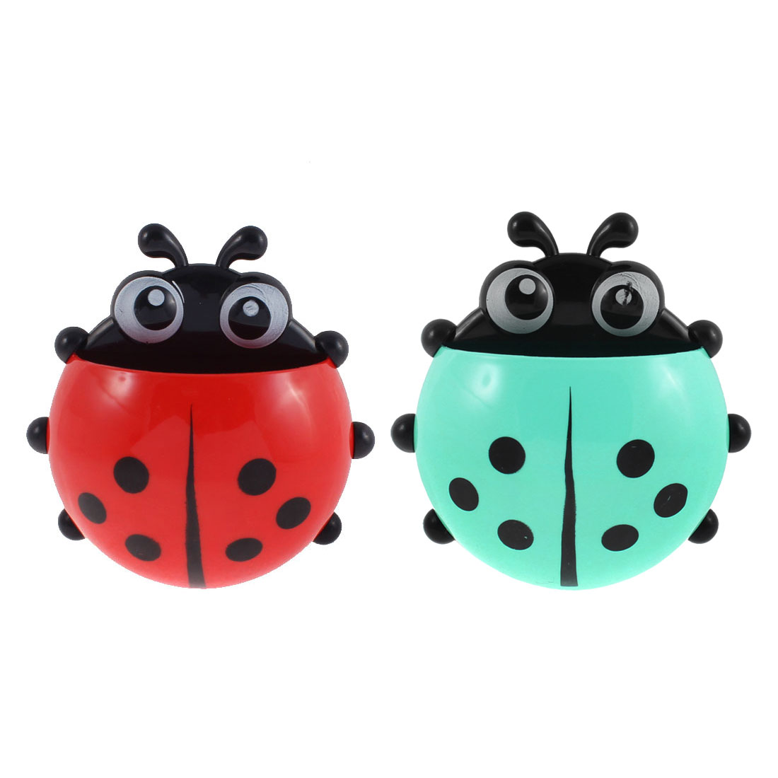 Plastic Ladybird Shape Suction Cup Toothbrush Holder Cyan Red 2 Pcs