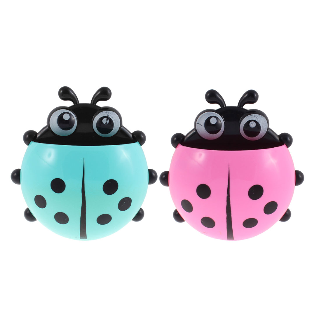 Household Plastic Ladybird Shape Toothbrush Holder Cyan Pink 2 Pcs