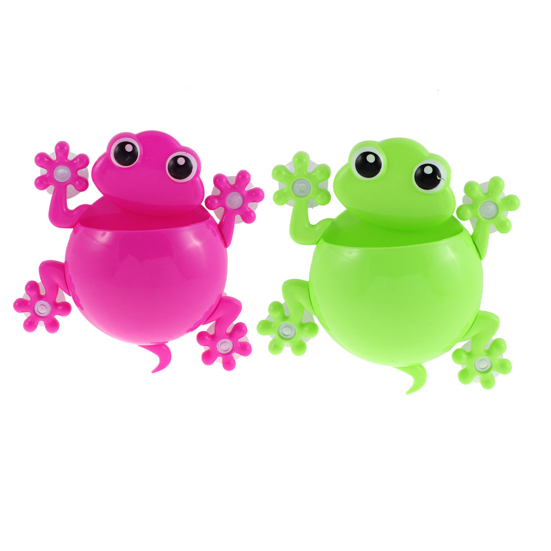 Plastic Frog Design Toothbrush Toothpaste Holder Green Fuchsia 2pcs