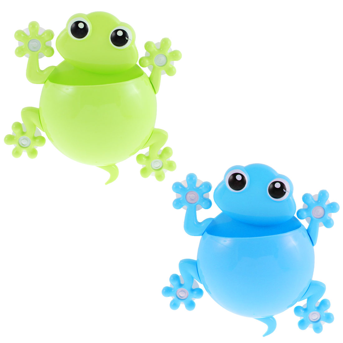 Plastic Frog Design Suction Cup Toothbrush Toothpaste Holder Green Blue 2pcs
