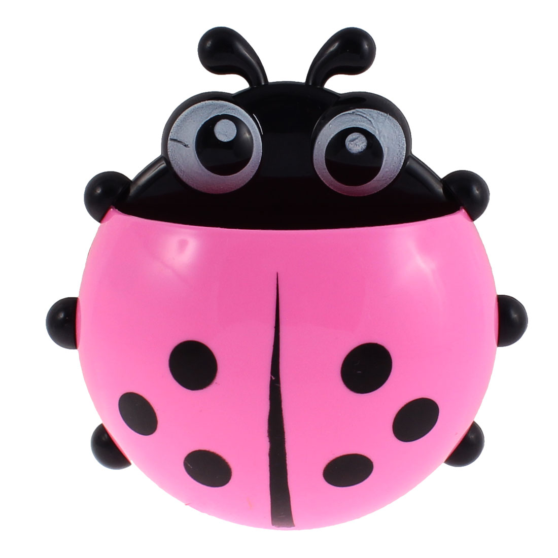 Household Plastic Ladybird Design Suction Cup Toothbrush Holder Pink