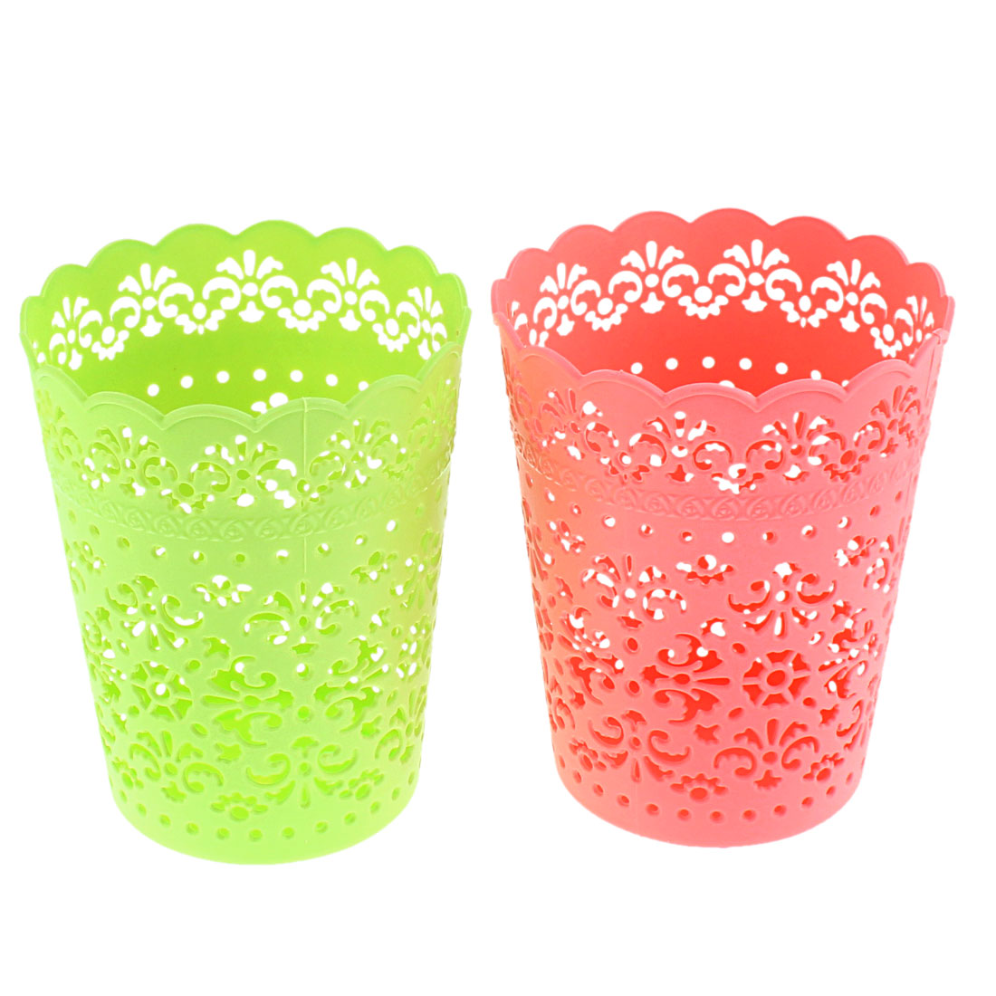 Plastic Hollow Out Floral Design Storage Basket Green Coral Pink 2 Pcs