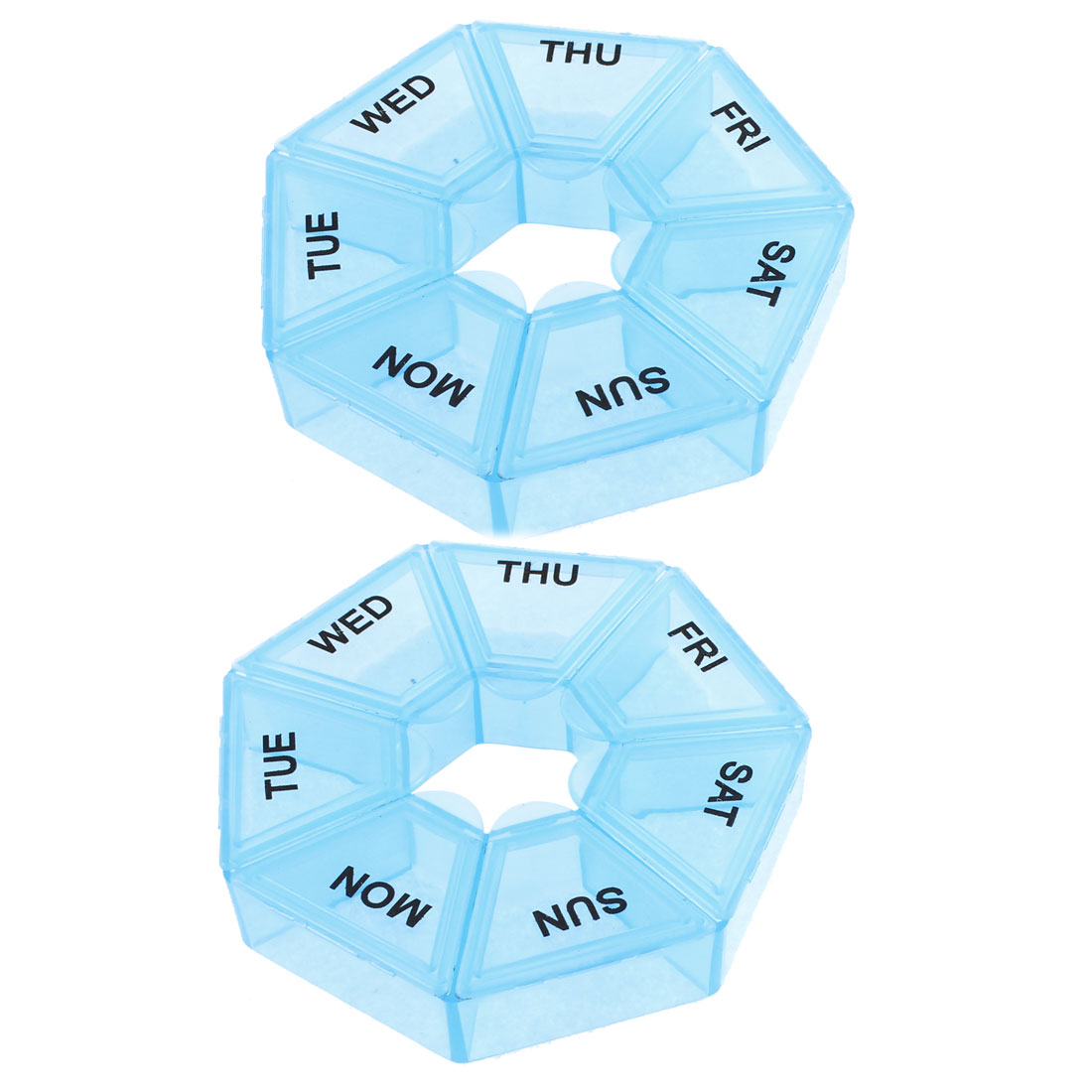 Household Plastic Heptagon 7 Compartments Medicine Pill Box Blue 2pcs