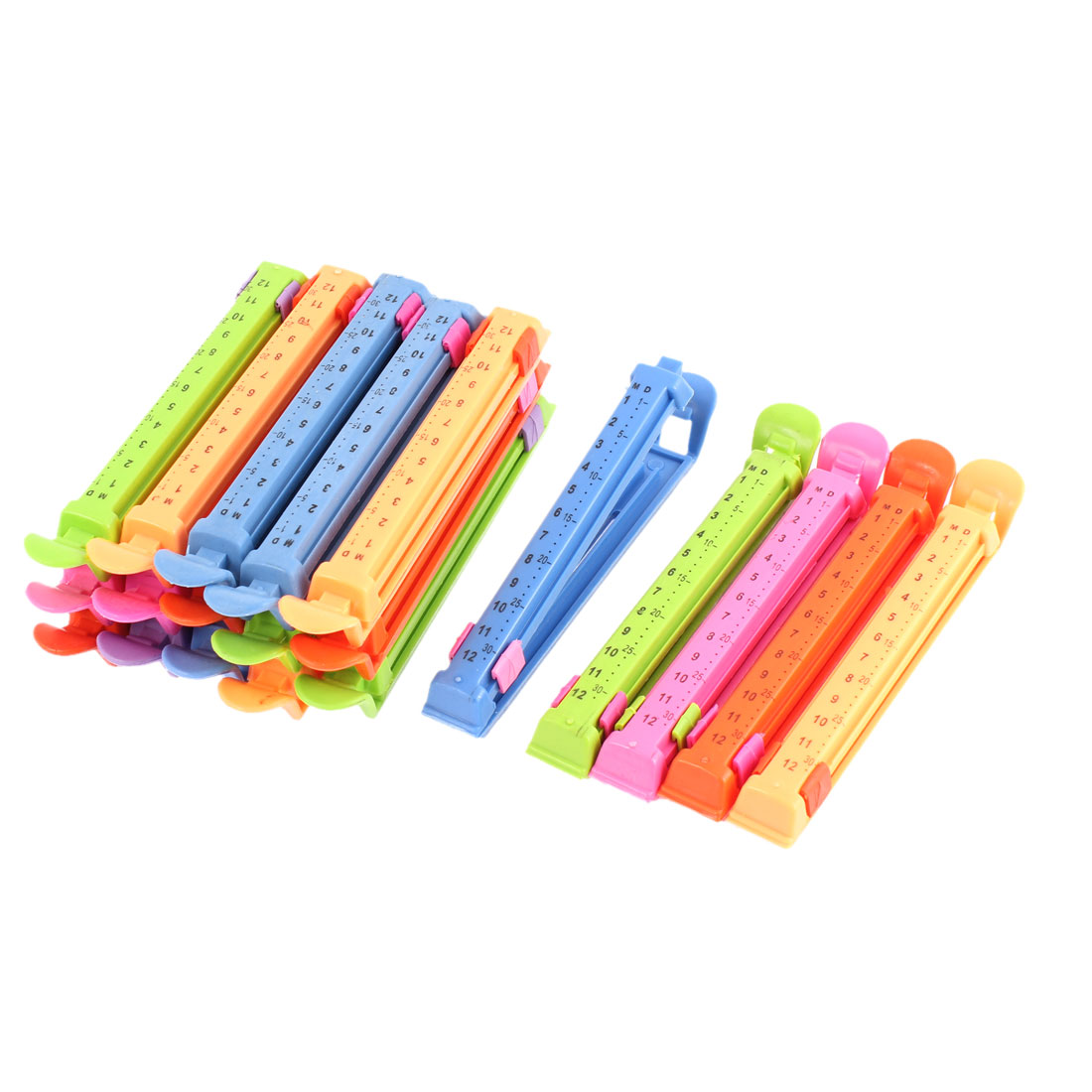 Household Plastic Date Marking Food Seal Clips Assorted Color 20 Pcs