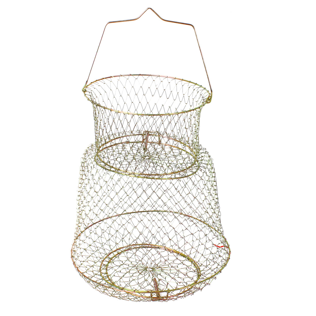 Metal Wire Folding 2 Layers Fish Cage Shrimp Crab Net 32cm Height Bronze Tone