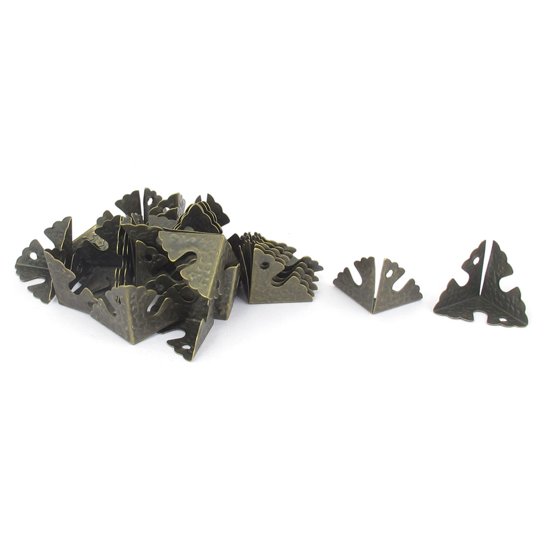 30 Pcs 22mm x 22mm x 22mm Chair Door Triangle Corner Braces Angle Brackets Furniture Fastener Bronze Tone