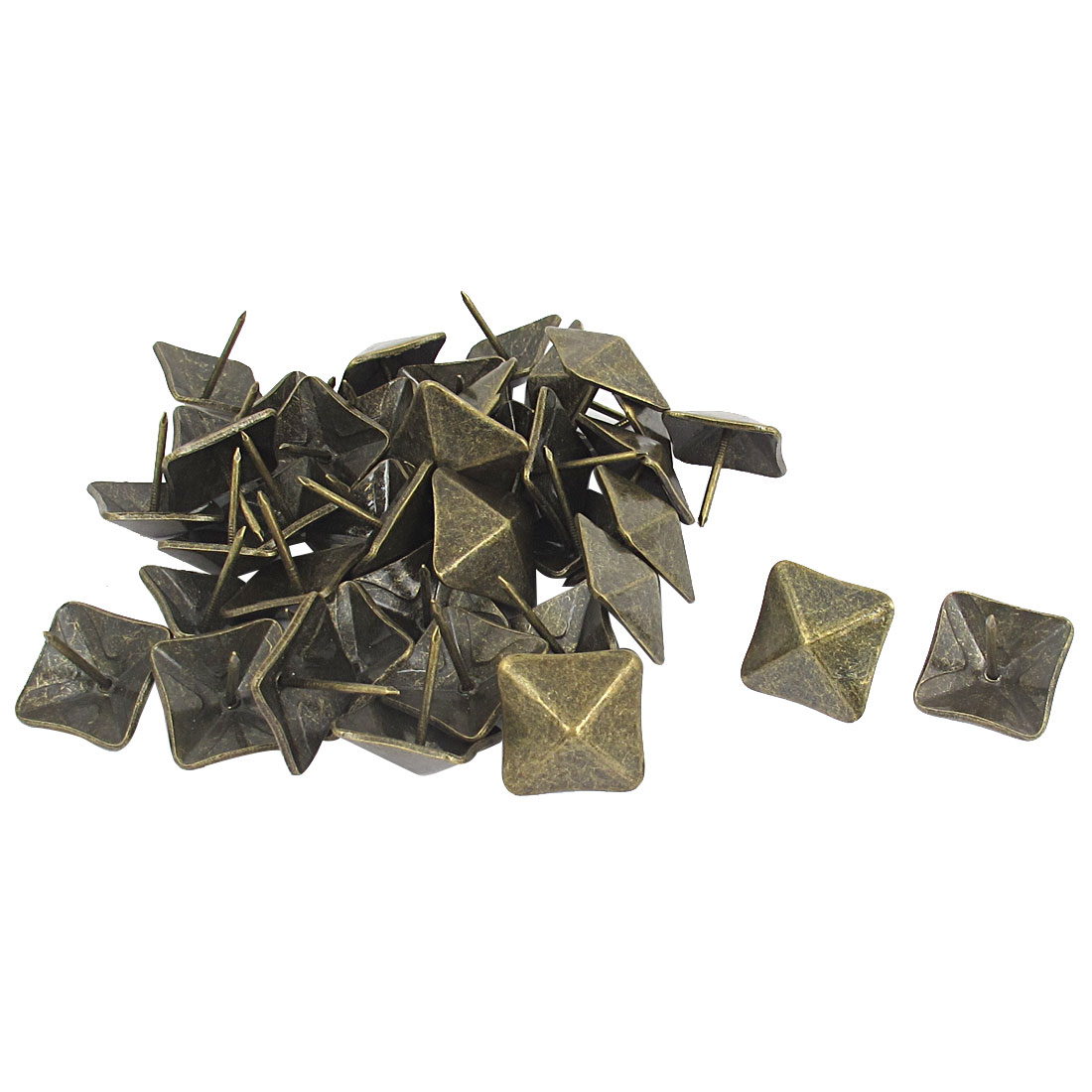 40 Pcs 19mm Dia Bronze Tone Antique Style Square Shaped Message Board Map Thumb Tacks