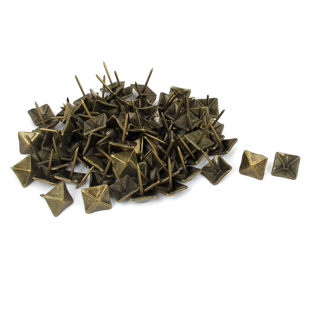 150 Pcs 14mm x 14mm Bronze Tone Antique Style Square Shaped Message Board Map Pins Thumb Tacks
