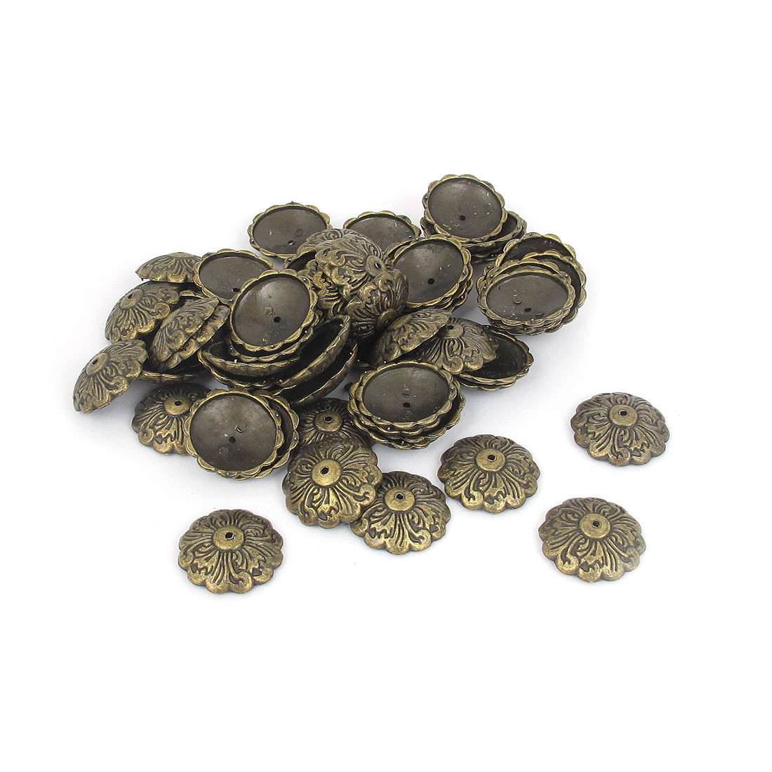 Metal Antique Style Flower Carved Thumb Tacks Bronze Tone 22mm Diameter 60pcs