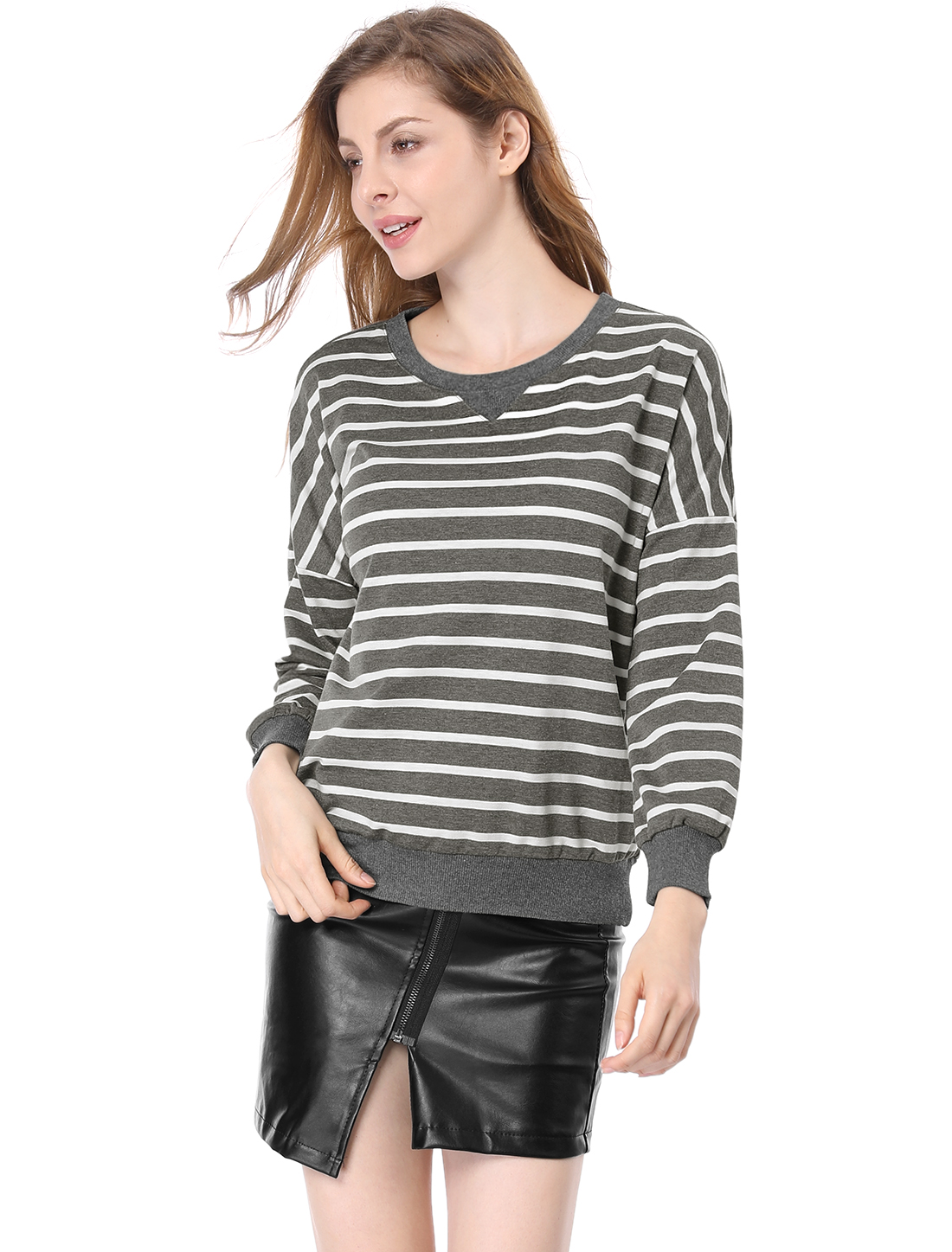Women Round Neck Dropped Shoulder Loose Striped Sweatshirt Dark Gray L