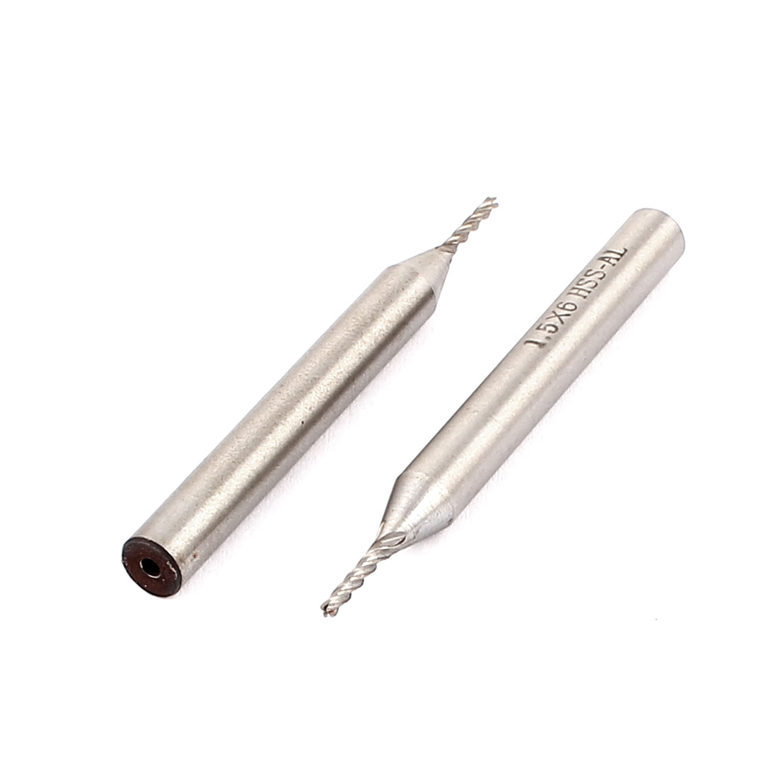 1.5mm Cutting Dia 6mm Straight Shank 4 Flute HSSAL End Mill Cutter CNC Bit 2Pcs