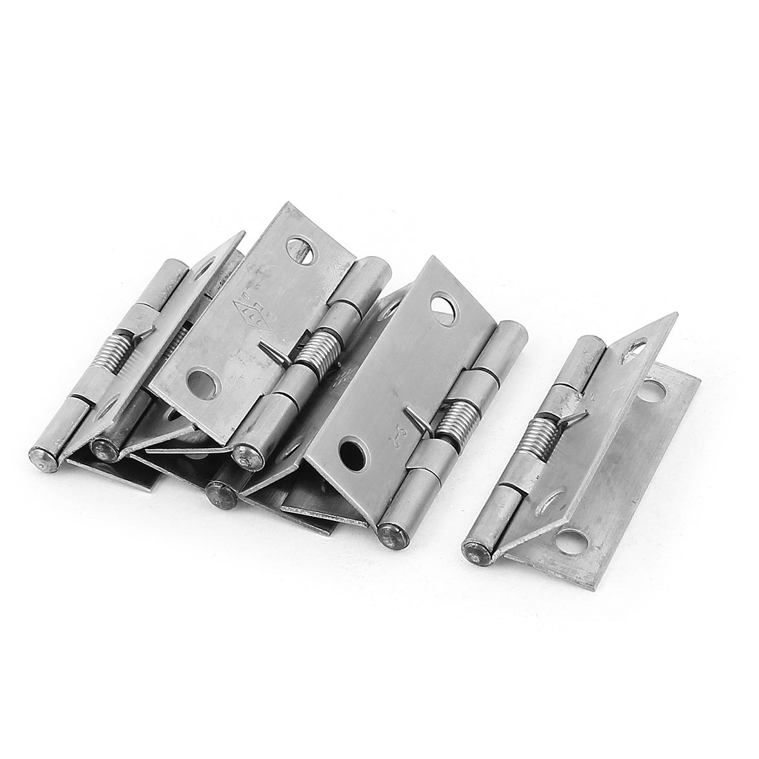 52mm Long Spring Loaded Cupboard Cabinet Closet Door Butt Hinge Silver Tone 6Pcs