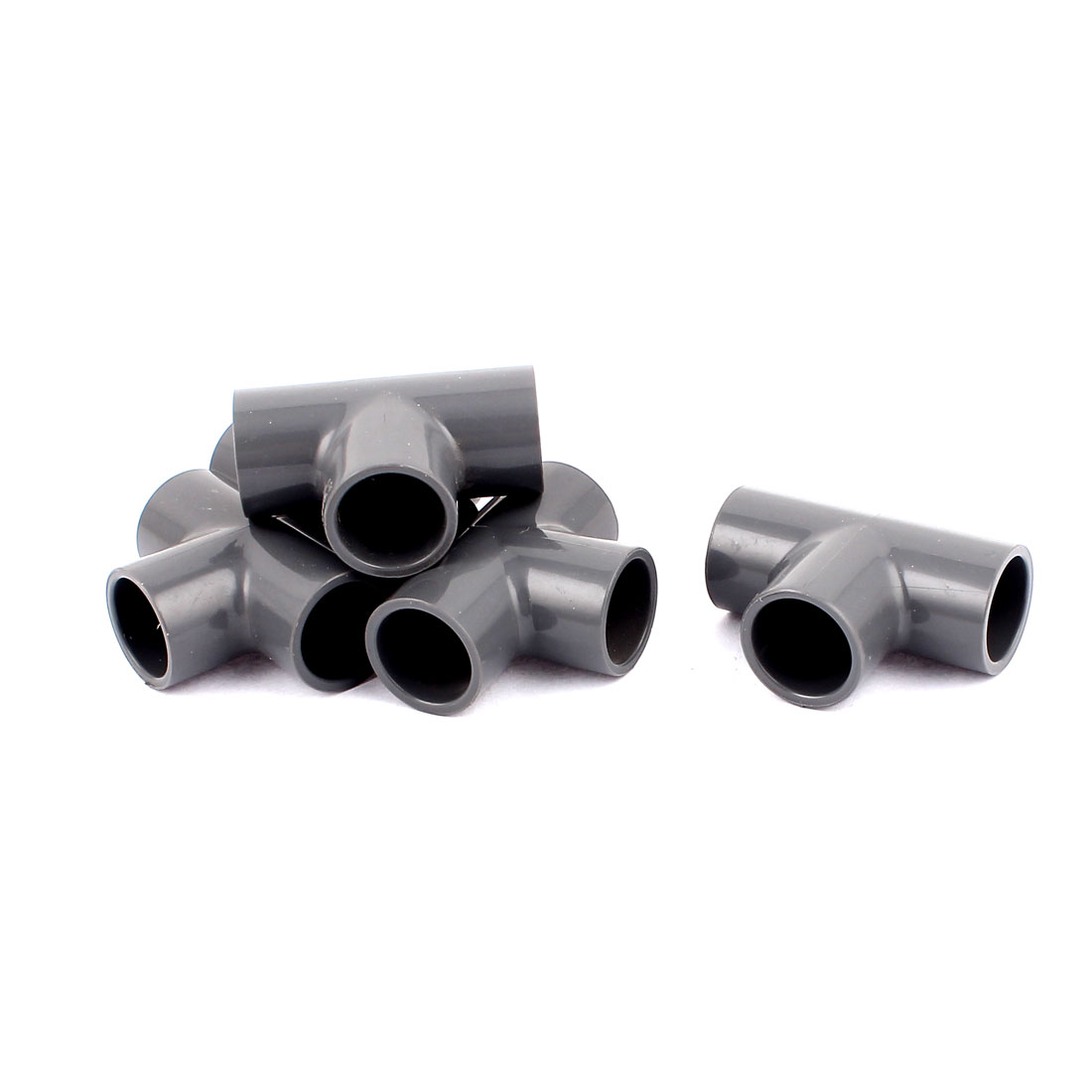 20mm Inner Dia T Shape 3 Way Water Pipe Tube Fitting Connector Gray 5Pcs