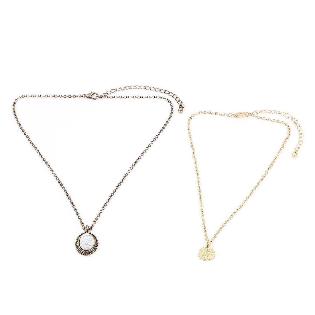 2 Pcs Tricolor Metal Plastic Pendant Lobster Buckle Strip Link Slim Chain Necklaces Neckwear Collar for Ladies Women