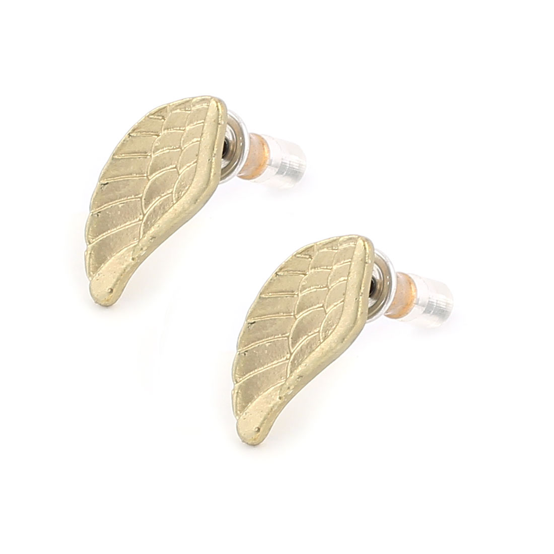 Pair Women Metal Wing Shape Design Pierced Stud Pin Ear Nail Earrings Earbobs Bronze Tone 1.4cm Length