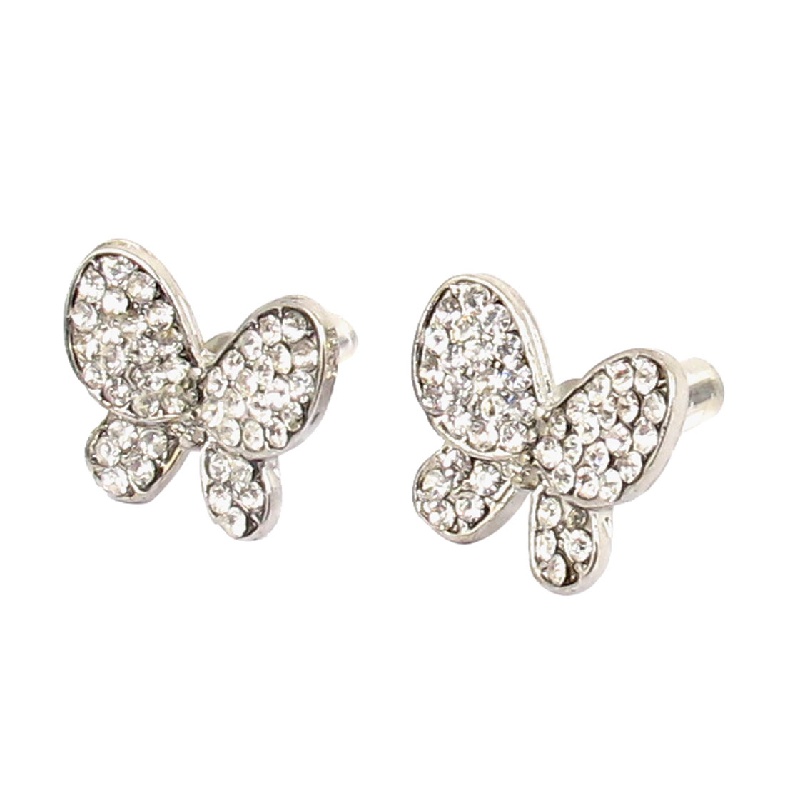 Women Plastic Crystal Decor Metal Butterfly Shape Stud Earrings Silver Tone Pair