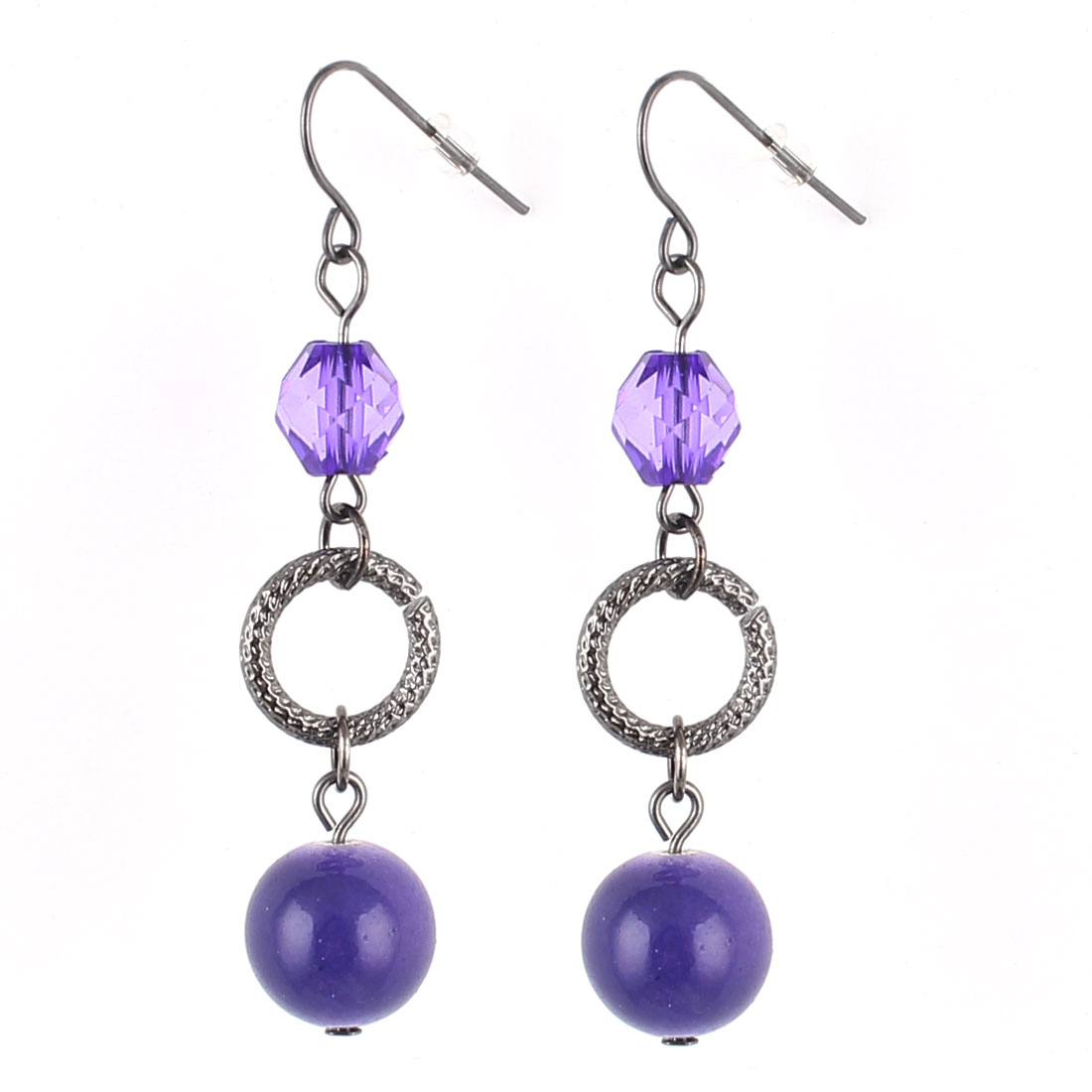 "2.4"" Length Purple Brown Plastic Lightweight Beads Pendant Metal Fish Hook Earrings Earbob Eardrop Pair for Lady Women"