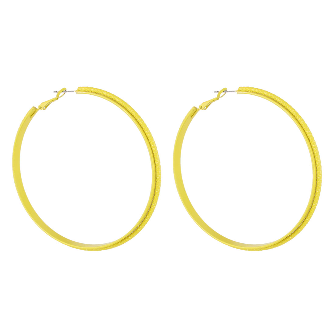 "Lady Women Metal Double Deck Textured Circle Hoop Pierced Earrings Yellow 2.2"" Dia Pair"