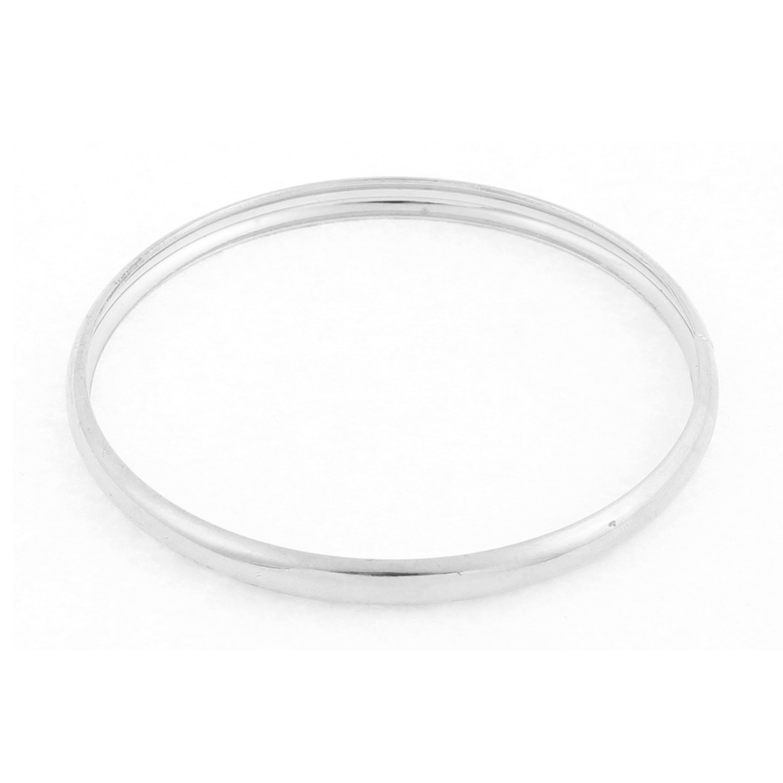 Lady Circle Design Wrist Bangle Bracelet Silver Tone