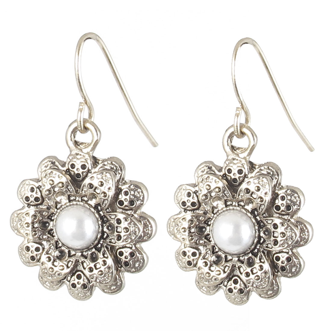 "1.5"" Length White Copper Tone Imitation Pearl Detail Flower Shape Pendant Metal Hook Earrings Earbobs Pair for Lady Women"