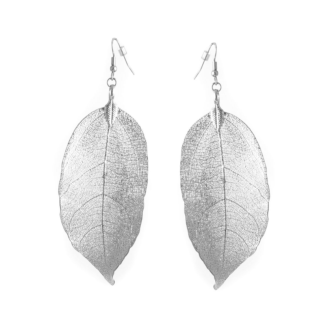"Lady Women Metal Leaf Shape Dangling Pendant Hook Earrings Earbobs Silver Tone 4.1"" Length Pair"
