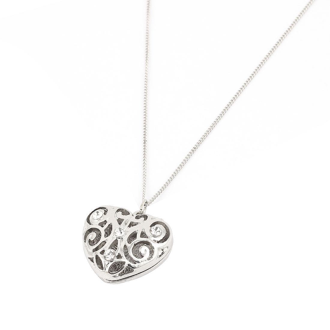 Silver Tone Plastic Crystals Decor Heart Shape Pendant Metal Necklace Neck Lace Neckwear for Women