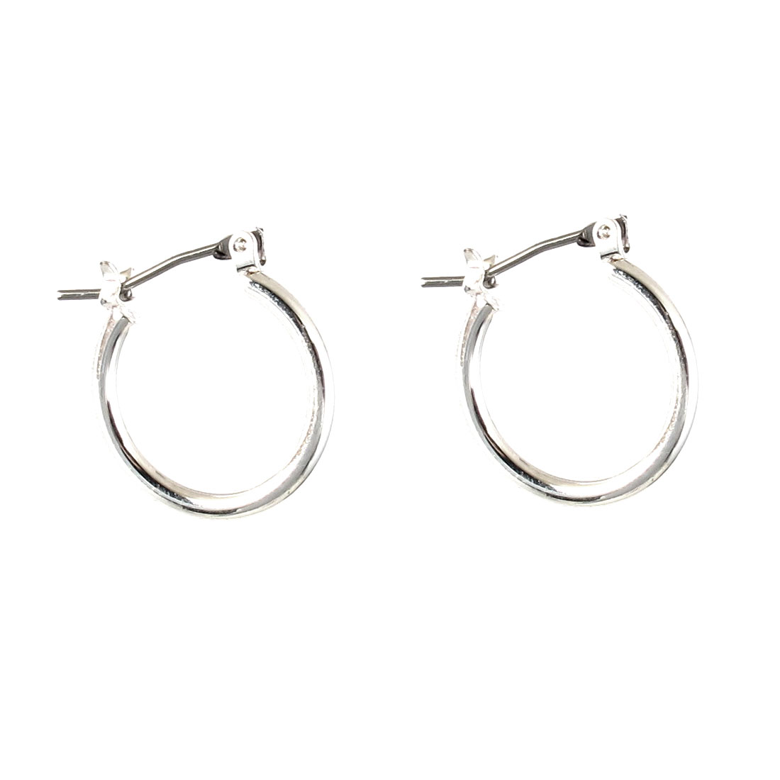 "Lady Women Metal Edge Circle Hoop Pierced Earrings Silver Tone 0.7"" Dia Pair"