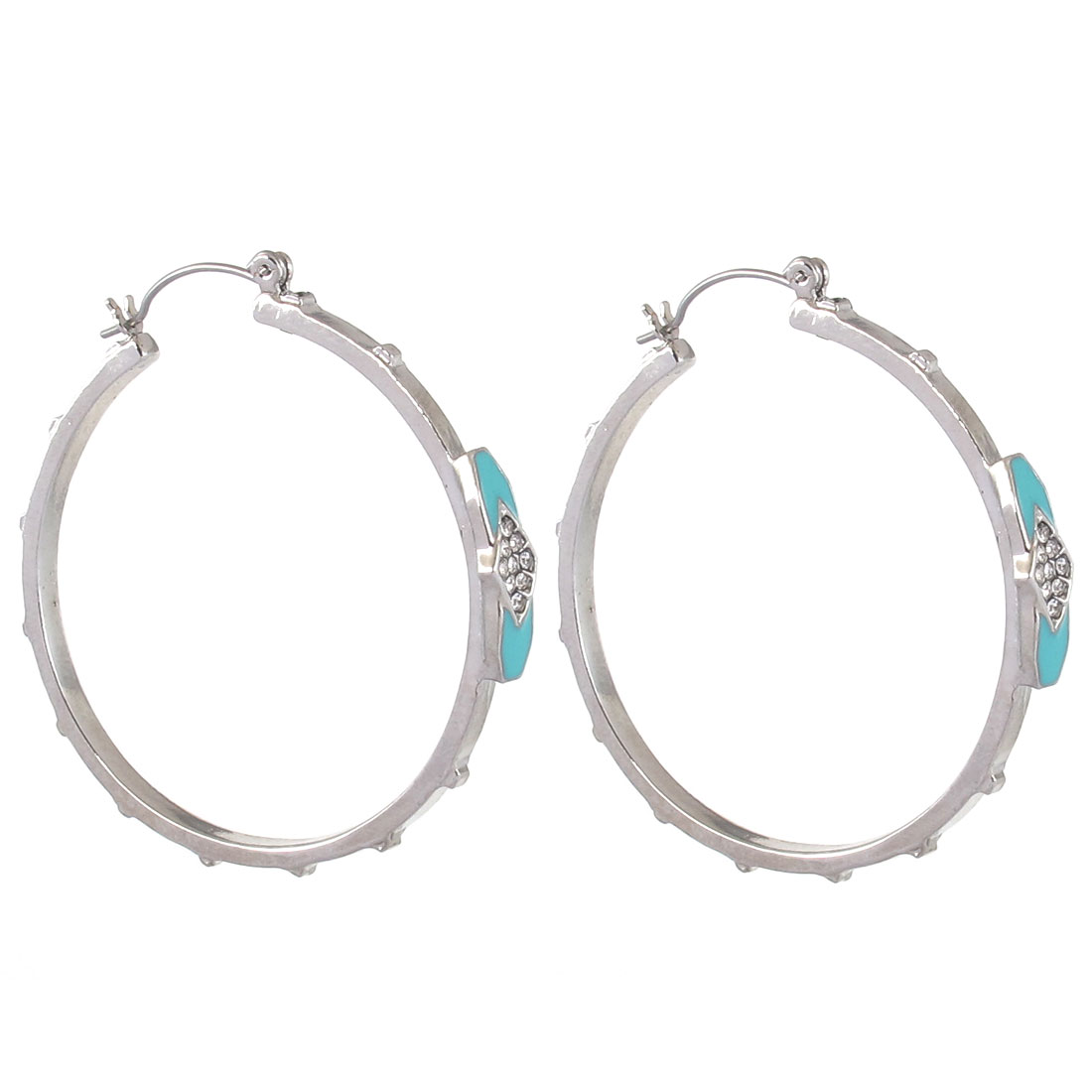 "1.8"" Dia Silver Tone Light Blue Faux Faceted Crystal Inlaid Stylish Edge Textured Metal Circle Hoop Pierced Earrings Pair for Lady Women"