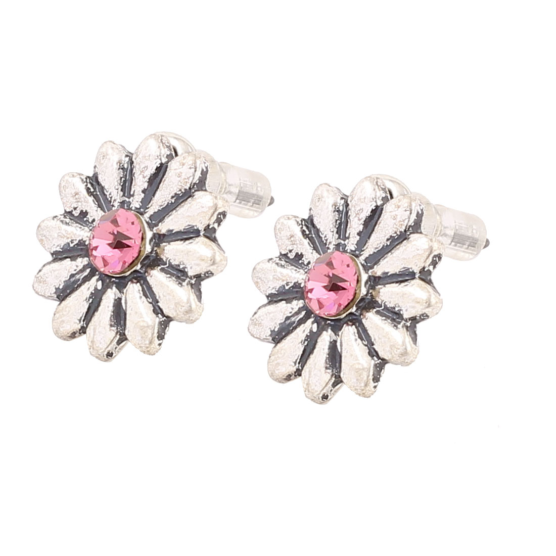 1.3CM Length Silver Tone Fuchsia Metal Flower Shape Rhinestone Inlaided Pierced Stud Pin Ear Nail Earrings Earbobs for Lady Women
