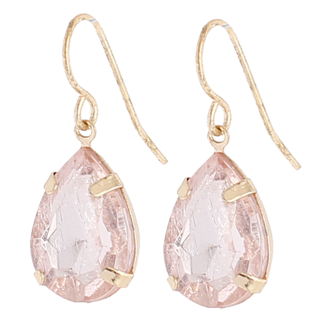 "Women Pink Faux Crystal Waterdrop Shape Dangling Pendant Metal Fish Hook Earrings Earbob Gold Tone 1"" Length Pair"