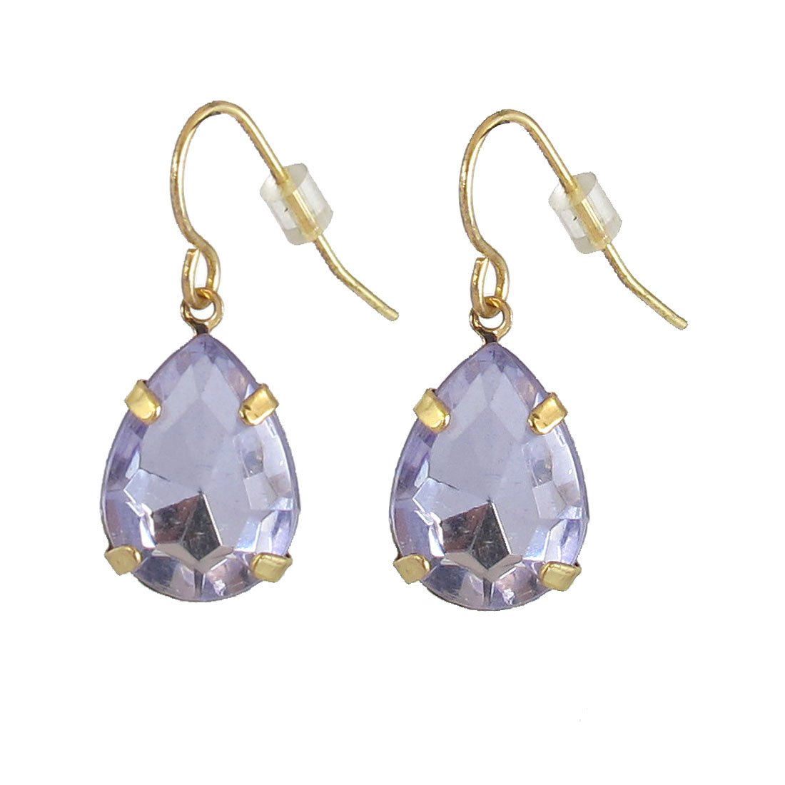 Lady Waterdrop Shape Faux Crystal Dangled Drop Hook Earrings Light Purple Pair
