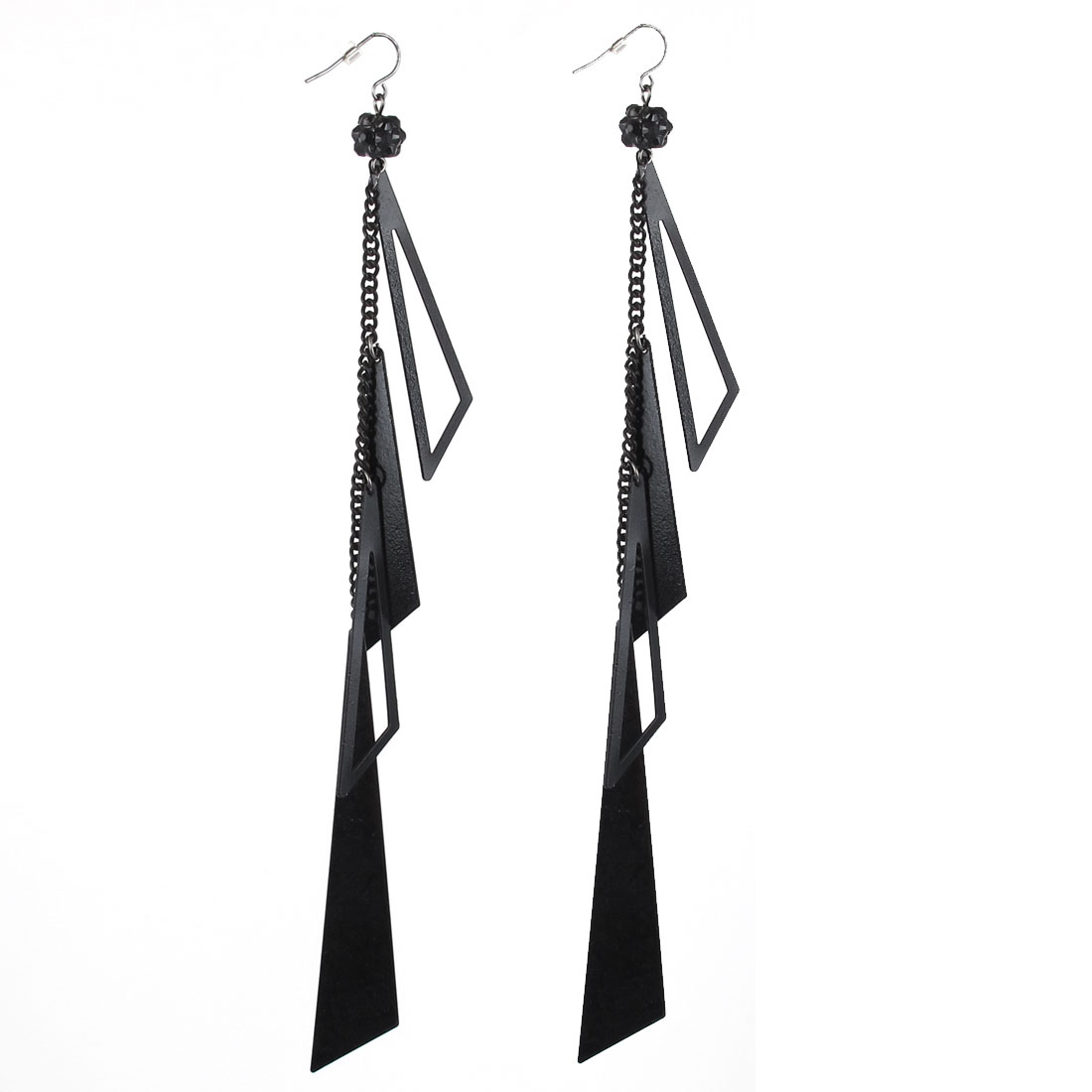 "7.5"" Length Black Metal Triangle Shape Stylish Smooth Surface Dangling Pendants Hook Earrings Earbobs Pair for Lady Women"
