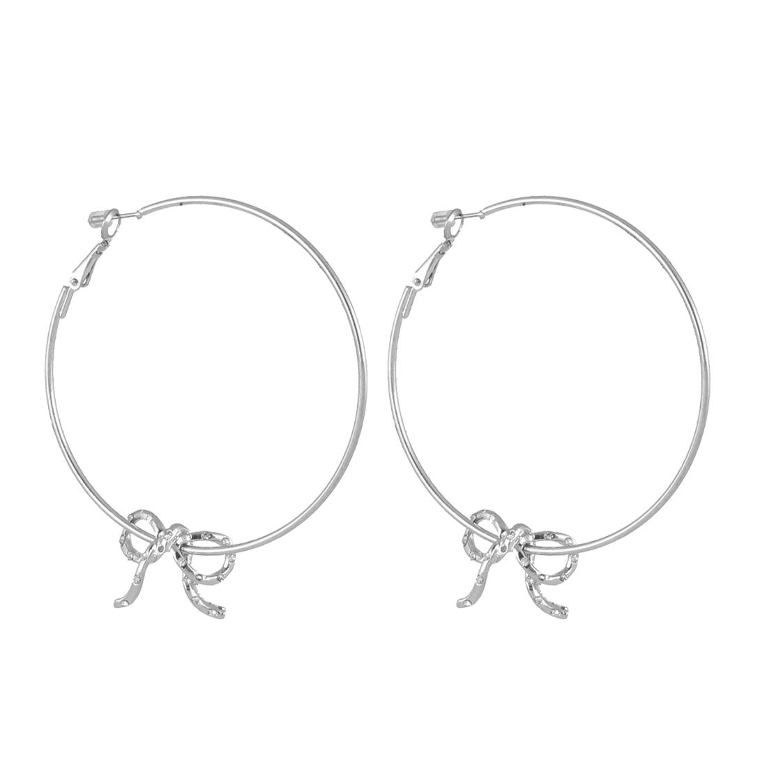 "Lady Women Metal Edge Smooth Circle Running Bowknot Design Hoop Pierced Earrings Silver Tone 2.4"" Dia Pair"