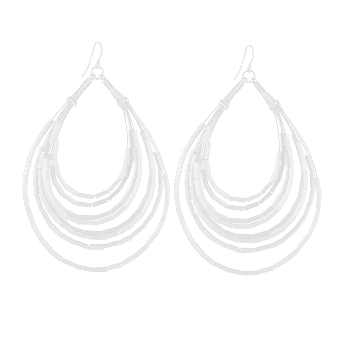 "3.7"" Length Silver Tone White Plastic Hollow Tubes Detail Waterdrop Shape Dangling Pendant Metal Fish Hook Earrings Earbob for Lady Women"