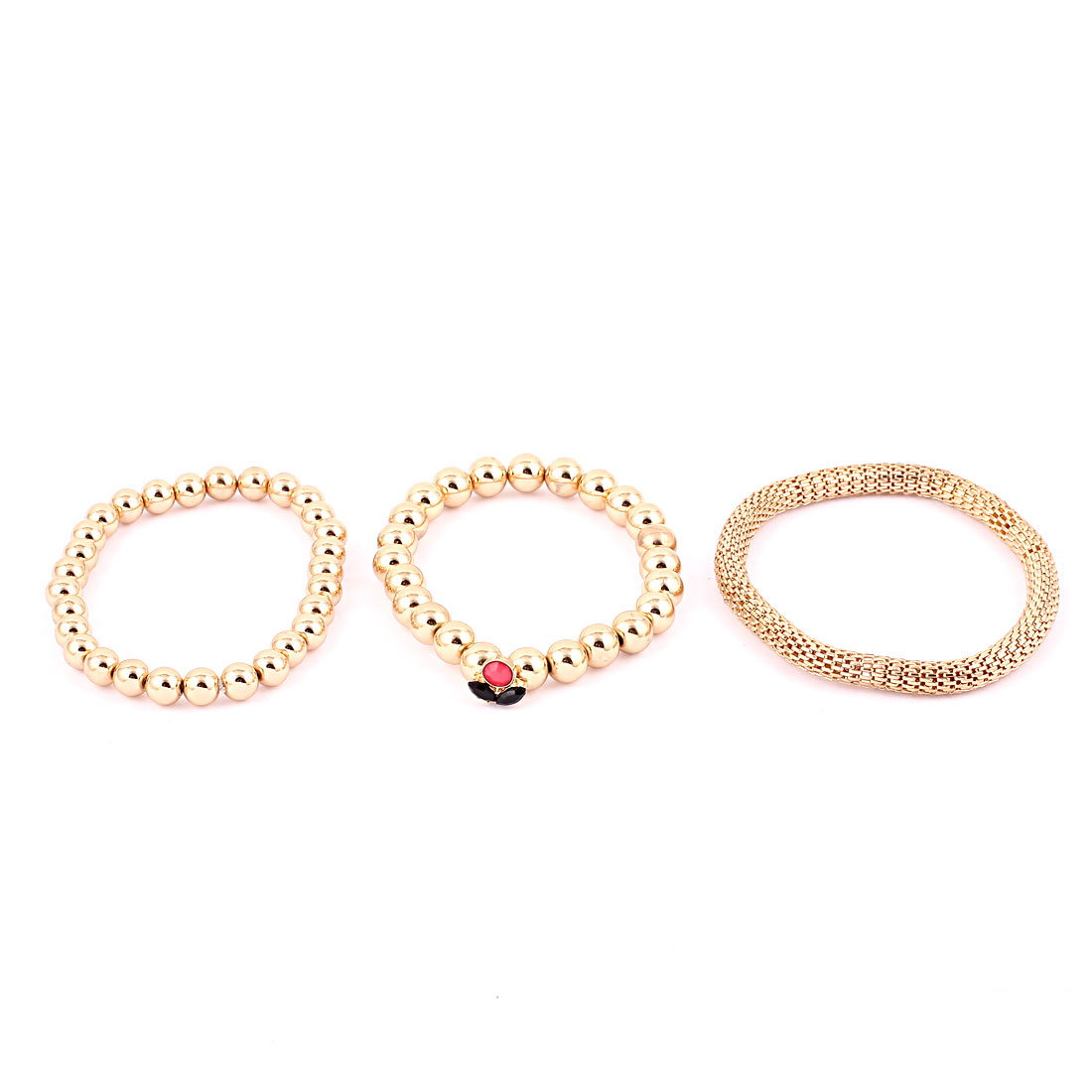 Unisex 3 Pcs Gold Tone Plastic Beads Decor Elastic Band Bracelets Bangle