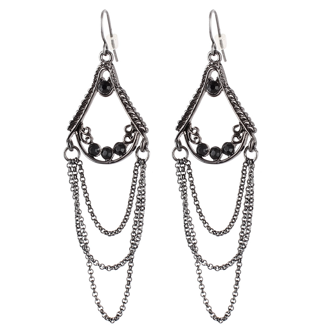 "3"" Length Black Metal Connected Both Ends Chain Tassels Spire Tower Shape Dangling Pendant Fish Hook Earrings Earbob Pair for Lady Women"