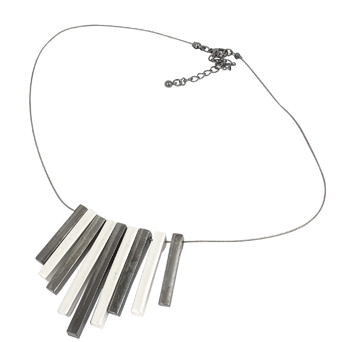 Ladies Metal Black White Strips Shape Detail Lobster Buckle Slim Steel Wire Necklace Neckwear Collar Gray
