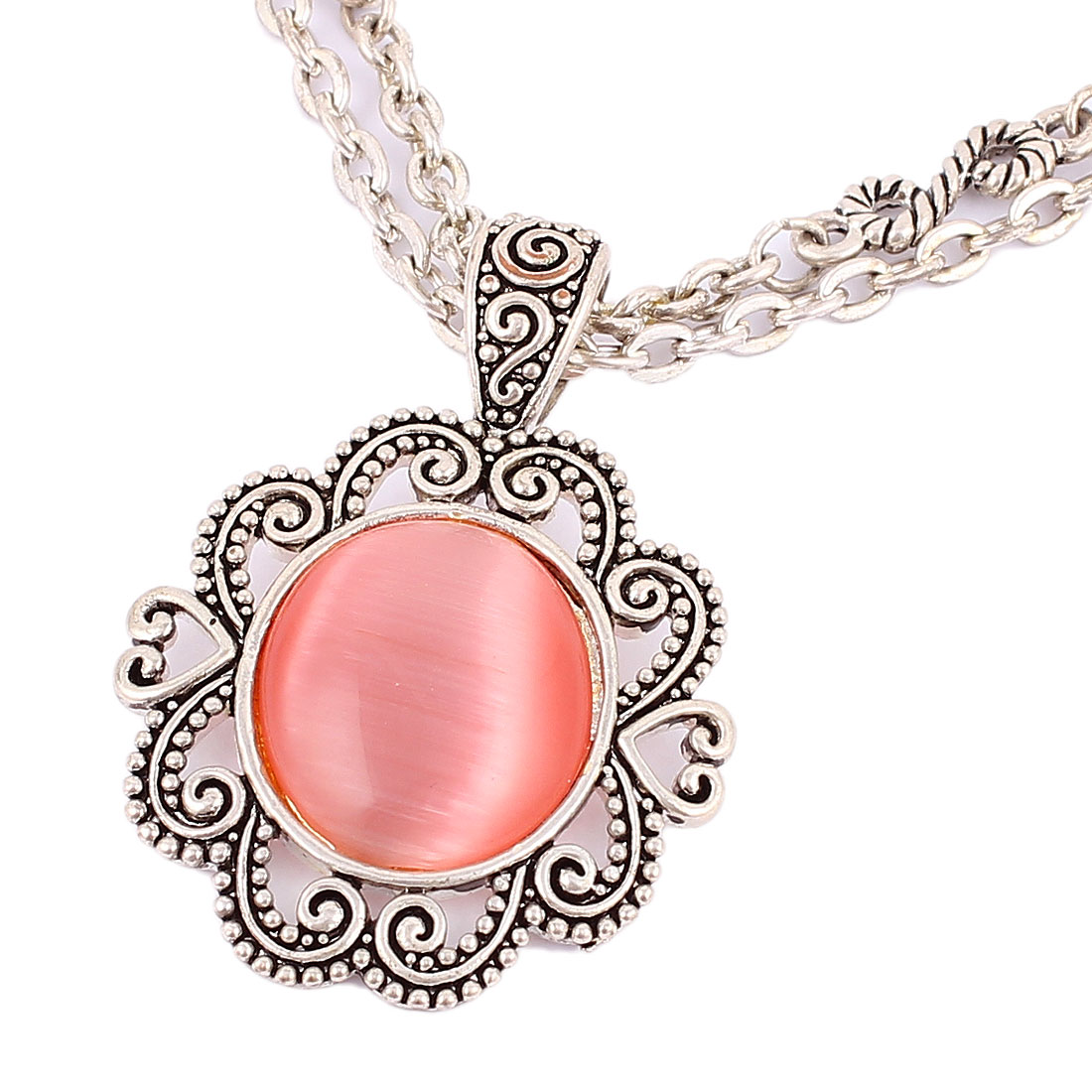 Ladies Women Plastic Crystal Inlaided Pendant Metal Lobster Buckle Strip Link Thick Double Chains Necklace Neckwear Silver Tone Pink