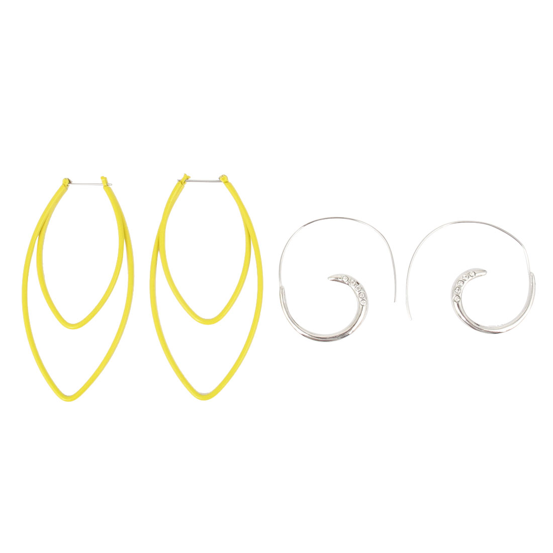 2 Pairs Gold Tone Silver Tone Metal Double Oval Design Crescent Shape Hook Stylish Earrings for Lady Women