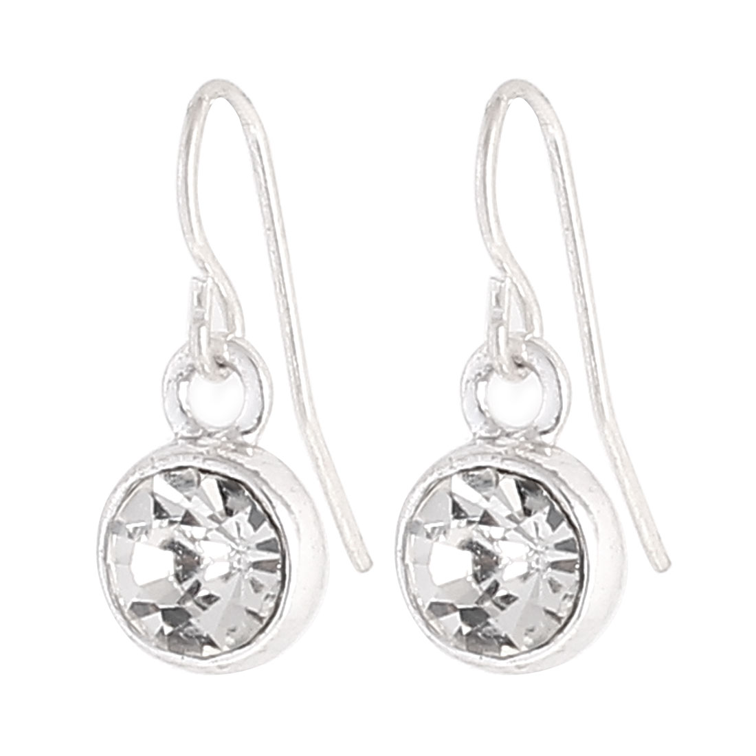 """Woman Faux Crystal Inlaid Round Circle Shape Dangling Pendant Metal Fish Hook Earrings Earbob Sillver Tone 0.8"""" Length Pair"""